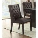 Benzara BM171525 Button Tufted Royal Dining Chair, Set Of 2, Dark Brown