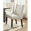 Benzara BM171526 Upholstered Button Tufted Leatherette Dining Chair, Set Of 2, White