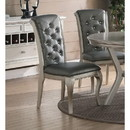 Benzara BM171529 Set Of 2 Rubber Wood Dining Chair With Tufted Back, Gray And Silver