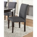 Benzara BM171531 Set Of 2 Solid Wood Dining Chair In Gray Upholstery