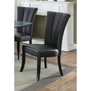 Benzara BM171539 Leather Upholstered Dining Chair In Poplar Wood, Set Of 2, Black
