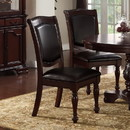 Benzara BM171552 Set Of 2 Rubber Wood Traditional Dining Chair, Dark Brown And Black