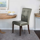 Benzara BM171561 Button Tufted Faux Leather Wooden Dining Chair, Set Of 2, Silver