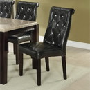 Benzara BM171562 Black Faux Leather Tufted Dining Chair, Set Of 2, Black And Brown