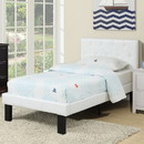 Benzara BM171749 Faux Leather Upholstered Twin size Bed With tufted Headboard, White