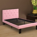 Benzara BM171750 Faux Leather Upholstered Full size Bed With tufted Headboard, Pink