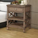 Benzara BM171764 Mahogany Wood Nightstand with 1 Drawer in French Truffle Brown
