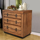 Benzara BM171999 3 Drawer Nightstand In Mahogany Wood Brown