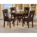 Benzara BM172005 5 Piece Rubberwood Dining Set With Table And 4 Chairs Brown