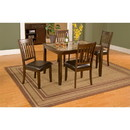 Benzara BM172019 5 Piece Dining Set In Rubberwood With Faux Marble Top, Brown