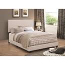 Benzara BM172143 Explicitly Crisp Upholstered Cal King Bed, Ivory