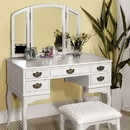 Benzara BM172786 Elegant Traditional Vanity Table With Multiple Drawers And A Stool, White Finish