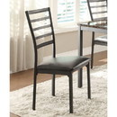 Benzara BM174337 Metallic Side chair With Leatherette Upholstered Seat, Black , Set of 4