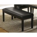 Benzara BM174349 Wooden Bench With Padded Leatherette Seat, Dark Espresso Brown
