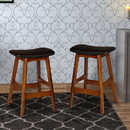 Benzara BM174383 Wooden Counter Height Stool In Black And Brown, Set of 2