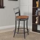 Benzara BM176406 Wooden & Metal Counter Height Swivel Chair, Gray & Brown, Set Of 2