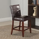 Benzara BM177544 Leather Upholstered Wooden Counter Height Chair, Brown, Set Of 2