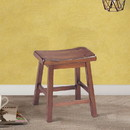 Benzara BM177547 Wooden Stools With Saddle Seat, Walnut Brown, Set of 2