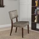 Benzara BM177596 Wooden Side Chair , Grey Fabric, Set Of 2