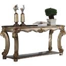 Benzara BM177676 Wood Sofa Table with Bottom Shelf in Golden Brown