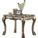 Benzara BM177682 Wooden End Table with Claw Feet and Carved Intricate Motifs, Gold and Silver