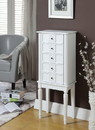 Benzara BM177732 Wood Jewelry Armoire With 5 Drawers in White
