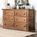 Benzara BM177886 Wooden Rustic Style 6 Drawers Dresser In Mahogany Finish, Brown