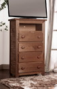 Benzara BM177888 Wooden 4 Drawers Media Chest With 1 Top Shelf In Mahogany Finish, Brown