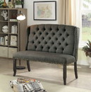 Benzara BM177893 Tufted High Back 2-Seater Love Seat Bench With Nailhead Trims, Gray