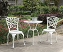 Benzara BM177946 Transitional Style Table Set of 1 Table and 2 Chairs With Cabriole Legs, White