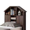 Benzara BM179676 Twin Size Hut Style Bookcase Headboard In Wood, Dark Walnut Brown