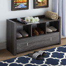 Benzara BM179718 Wooden Shoe Bench With 3 Shelves, Distressed Gray