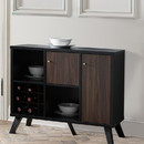 Benzara BM179738 Spacious Wooden Buffet With Angled Legs, Black And Dark Walnut Brown