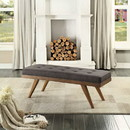 Benzara BM179780 Wood Bench With a Tufted Seat, Dark Gray