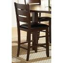 Benzara BM179875 WoodCounter Height Chairs With Slatted Backs, Set of 2, Dark Brown