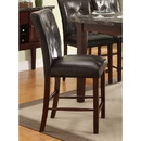 Benzara BM179909 Leatherette Upholstered Wooden Counter Height Chair, Dark Cherry Brown, Set of 2