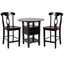 Benzara BM179922 3 Piece CoUnter Height Dining Room Set, Black & Oak Brown
