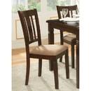 Benzara BM179935 Fabric Upholstered Slated Back Side Chair, Espresso & Light Brown (Set of 2)