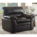 Benzara BM180045 Bonded Leather Upholstered Chair With Padded Armrests, Black