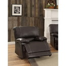 Benzara BM180111 Leather Reclining Chair with Padded Armrest, Dark Brown
