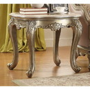 Benzara BM180121 Wooden End Table With Marble Top, Gold