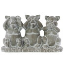 Benzara BM180361 Cemented Sitting Pig No Evil Figurine On Base, Concrete Gray