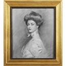 Benzara BM180962 Natural Wooden Framed Portrait Of Charlotte Wall Art, Multicolor