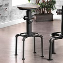 Benzara BM181284 Metal Frame Bar Stool With Wooden Seat In Black And Natural Brown, Set Of 2