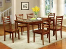 Benzara BM181290 7 Piece Wooden Dining Table Set With Marble Top In Oak Brown