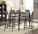 Benzara BM181301 5-Piece Metal And Wood Counter Height Table Set In Antique Brown