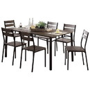 Benzara BM181303 7-Piece Metal And Wood Dining Table Set In Antique Brown