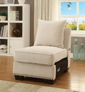 Benzara BM181340 Nail head Trim Fabric Upholstered Armless Chair With Pillow, Ivory