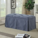 Benzara BM181463 Rectangular Button Tufted Fabric Upholstered Bench With Storage, Blue