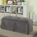 Benzara BM181465 Rectangular Button Tufted Fabric Upholstered Bench With Storage, Gray